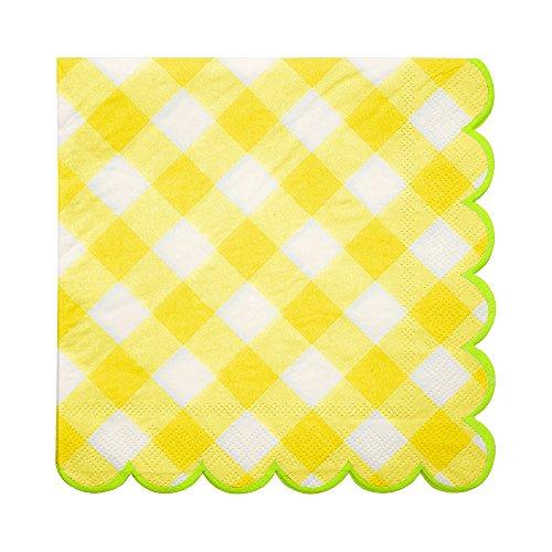 Meri Meri Yellow Gingham Large Napkins (Gingham Yellow Napkins)