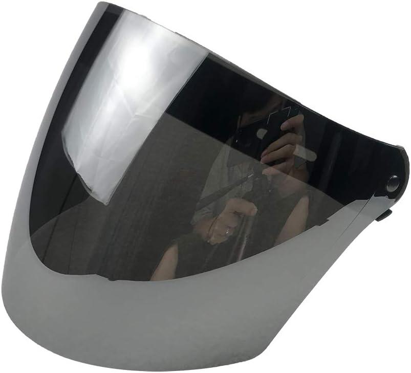 WANCAR Motorcycle Standard 3-Snap Button Flip Up Down Universal Bubble Visor for Open Face Half Helmet Wind Shield Mirrored