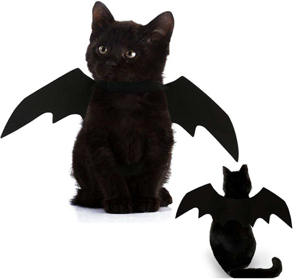 Glodenbridge Halloween Pet Dog Costume Vampire Wings Fancy Dress Costume Outfit Bat Wings Cats Dogs which Neck Circumference from 24-36cm Bust from 36-42cm