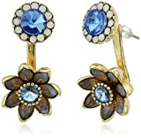 Betsey Johnson''Betsey Blues'' Faceted Stone Flower Front Back Earring Jacket