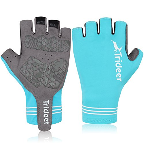 Trideer UV SUN PROTECTION Cycling Gloves, Half-Finger Mountain Bike Gloves, Road Racing Bicycle Gloves, Breathable Microfiber Lycra Material and Silica Gel Grip Anti-slip Gloves for Men, Women