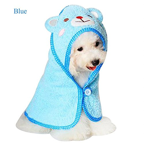 AenmilregNew-Soft-Pet-Dog-Cute-Cartoon-Pajamas-Dog-Bathrobe-Multifunction-Absorbent-Pet-Bath-Towel-Animal-Puppy-Cat-for-Small-Dog-Green