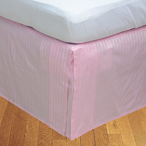 (SRP Bedding Real 210 Thread Count Split Corner Bed Skirt / Dust Ruffle Queen Size Striped Baby Pink 18