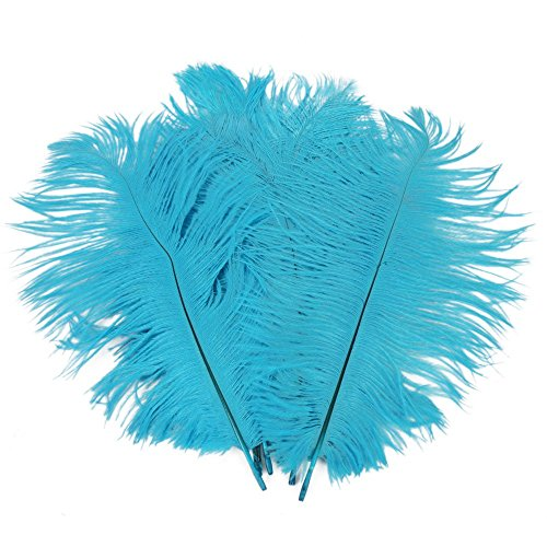 Xinlink New 10pcs Real Natural Ostrich Feathers Bulk 8-10 inch Light Blue Color Party Wedding Festival Centerpieces Home Craft Decoration (2)