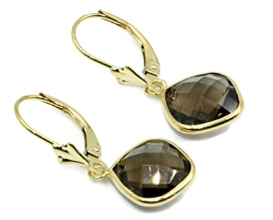 NEW Cushion Cut Smoky Quartz Leverback Huggie Earrings