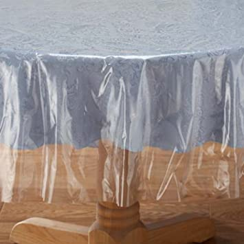 Crystal Clear Tablecloth Cover   Vinyl Table Protector (70u0026quot; ...