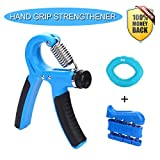 Cheap Hand Grip Strengthener Workout Kit (3 Pack) – Adjustable Resistance Hand Strengthener (22-88 Lbs), Finger Exerciser, Grip Ring With Carrying Bag + 3 Years Warranty (Blue)