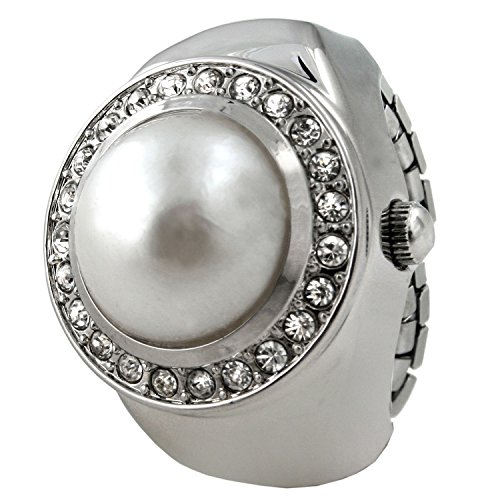 White Pearl & Crystal Cover Ring Watch with Expansion Stretch Stainless Steel Band One Size Fits ()