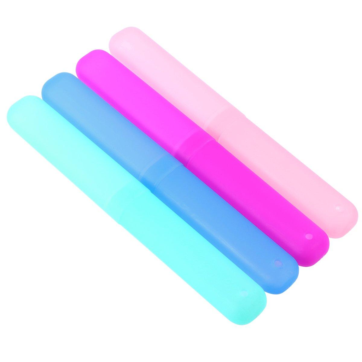 BSGP Pack de 4 fundas de pl/ástico port/átiles para cepillo de dientes de viaje resistentes a las bacterias