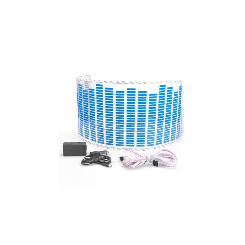 90*25cm Blue Led Light Music Rhythm Sticker Lamp Auto Car Sound Activated Equalizer 12V Decoration Universal Automotive
