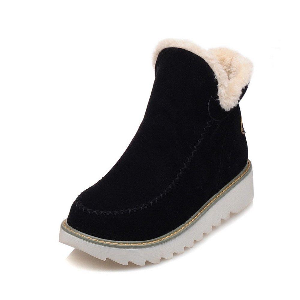 WOIDIOUY Big Size Pure Color Warm Fur Lining Winter Ankle Snow Boots for Women B077QDSCCS 10 M US|Black