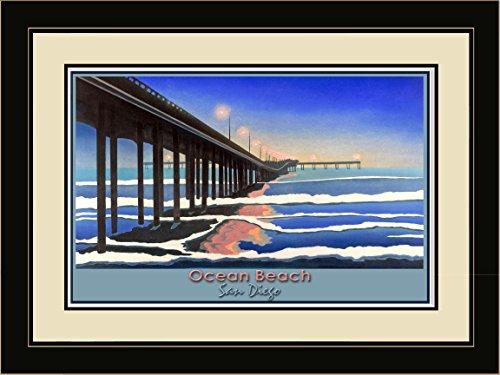 Northwest Art Mall DL-3999 LFGDM NTO Ocean Beach San Diego Night Ocean Framed Wall Art by Artist David Linton, 20 x 26