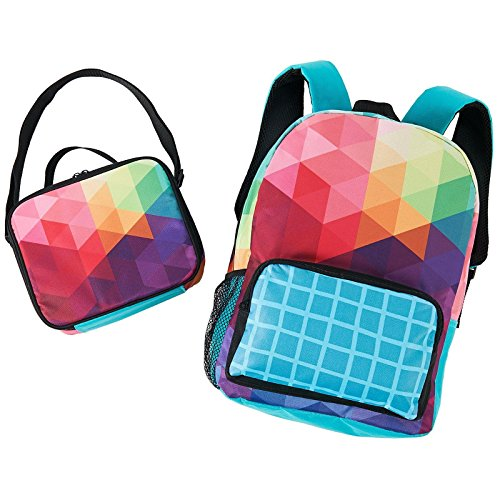 Rainbow Fractal School Supplies Canvas Backpack and Lunch Tote - Backpack Sack Nap