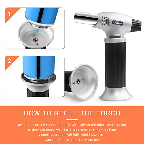 Authenzo Kitchen Butane Torch Lighter (Butane Gas Not Included,Black) by Authenzo (Image #4)