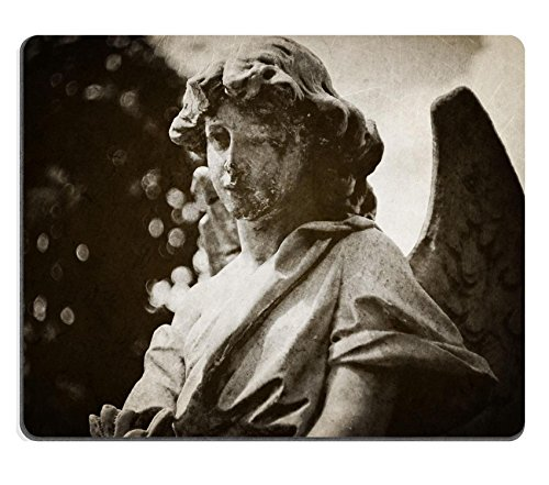 MSD Natural Rubber Mousepad IMAGE 21524828 Angel tombstone vintage textured (Angel Tombstone)