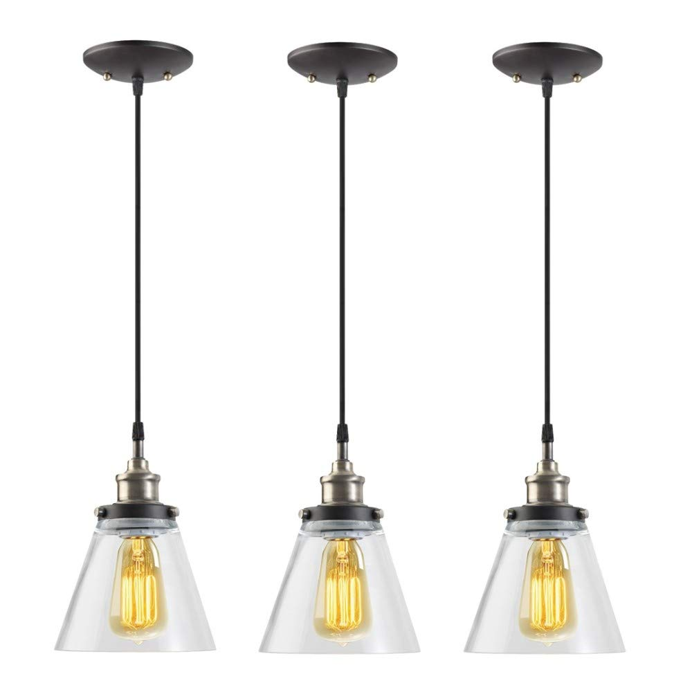 Globe Electric 1-Light Vintage Edison Hanging Pendant, Antique Brass & Bronze Finish, Black Cord, Glass Shade, 3x 60W Bulbs (sold separately), 3 Pack, 65207