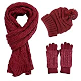 Knit Hat/Scarf/Glove Set, Fashion Soft Warm Thick Cable Knitted Knitting Hat Cap Beanie Mitten Touch Screen Gloves and Scarf, Winter Cold Weather Accessory Set Gift Set (Wine Red)