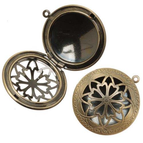 Beadaholique Antiqued Brass Round Celtic Design Window Locket Pendant 32mm (1) (Celtic Brass Pendant)