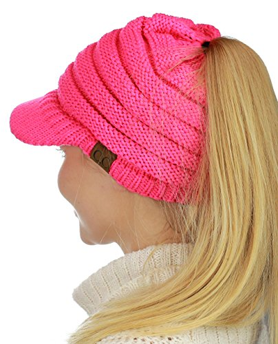 (C.C BeanieTail Warm Knit Messy High Bun Ponytail Visor Beanie Cap, Candy Pink)