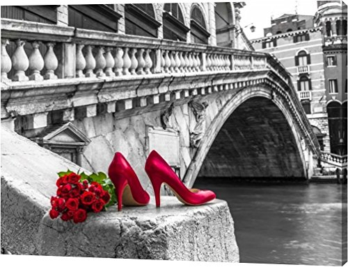 Assaf Frank - Bunch of red roses and red high heel shoes, Rialto Bridge, Venice, Italy by Assaf Frank - 11