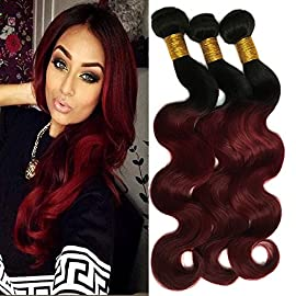 Black Rose Hair Two Tone Ombre Body Wave Hair Bundles 7A Peruvian Virgin Hair Body Wave Human Hair Extension Weaves 1B/99J Black+Burgundy 100g/pcs