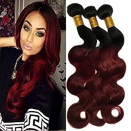 Black Rose Hair Two Tone Ombre Body Wave Hair 1 Bundles Premium Peruvian Virgin Hair Body Wave Human Hair Extension Weaves 1B/99J Black+Burgundy One Bundle 10inch