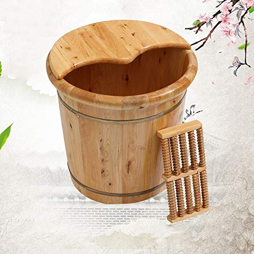 (YALTOL Foot Bath Wooden Barrel,Asin Massagers Natural Solid Wood Thicken Foot Spa Wooden Tub Household Insulation Steamed Health Foot Care 20cm High,Woodenbarrel+Lid)