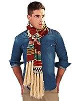 men's acrylic knit multi design warm winter scarf with fringe