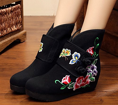 Ankle Butterfly AvaCostume Black Boots Embroidery Flower Womens Heel Boots Wedge 0z0rZ5wqx
