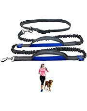 """Durable Hands Free Dog Leash for Running, Walking, Hiking, with Adjustable Waist Belt (Fits up to 47"""" Waist) and Shock Absorbing Bungee,for Large Dogs"""