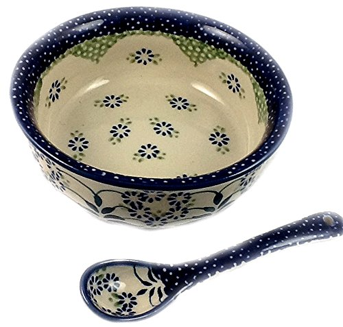 Polish Pottery Baby Cereal Bowl & Matching Spoon - DP16 Forget Me Not (Pottery Leaf Bowl)
