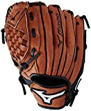 "Mizuno Prospect Baseball Glove, Chestnut,For a 3 - 6 year old player, 10"", Worn on right hand"