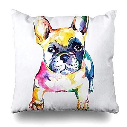 ImuSde - Funda de cojín con diseño de Perro Bulldog francés, Color Blanco