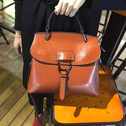 Décontracté Bag Sacs Capacité Cire Big Main Brown Style En Slung À Cuir Huile Sauvage Honneury Shell Épaule Wild Grande 5Bwxqta6