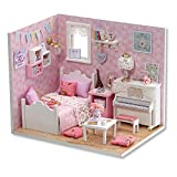 Flever Dollhouse Miniature DIY House Kit Creative Room With Furniture and Cover for Romantic Valentine's Gift (Sunny Princess)
