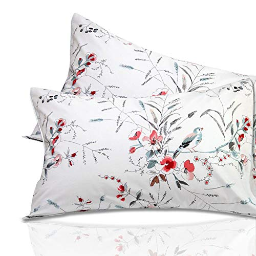 Warm Day White Bird Egyptian Cotton Pillow Cover Set-Shabby and Chic Flower Printed Pillowcase Set Rustic French Country Quality Hotel Collection Luxury Bedding Set Pillow Sham-Queen Size-12