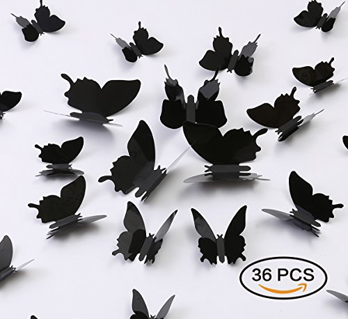 Kakuu 36PCS Butterfly Wall Decals - 3D Butterflies Wall Stickers Removable Mural Decor Wall Stickers Decals Wall Decor Home Decor Kids Room Bedroom Decor Living Room Decor-Black