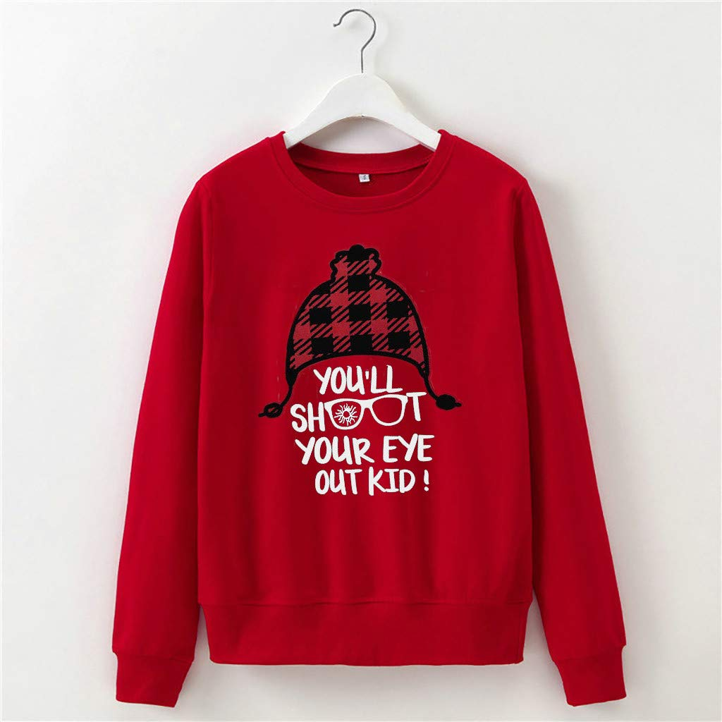 Youll Shoot Your Eye Out Sweatshirt Women Red Plaid Earflap Hat Graphic Pullover Casual Long Sleeve Loose Top Blouse