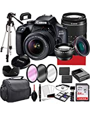 $469 » Canon EOS 4000D DSLR Camera with 18-55mm f/3.5-5.6 Zoom Lens, 64GB Memory,Case, Tripod and More (28pc Bundle) (Renewed)