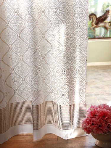 Saffron Marigold – Vanilla Glace – White and Gold Romantic Elegant Luxury Hand Printed – Sheer Cotton Voile Curtain Panel – Tab Top or Rod Pocket – (46