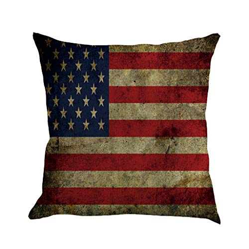USA Flag Throw Pillow Case,Independence Day Softer Cushion Cover Decorative,Washable Cotton Blend Linen Pillowcase,Floor Pillow Seating Cushion for a Reading Nook,Bed Room,Sofa Car Chair Seat