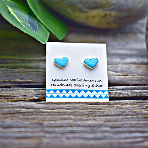 Genuine Sleeping Beauty Turquoise Heart Stud Earrings, 925 Sterling Silver, Authentic Native American Handmade in the USA, Natural Stone, Small and Dainty for Women, Light Blue, Southwest Jewelry