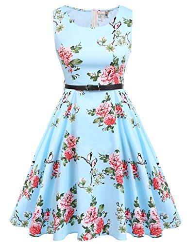 ACEVOG Women's Floral 1950s Vintage Rockabilly Swing Dress (Black Printing, XL)
