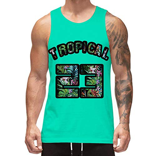 (Freshhoodies Mens 3D Tank Tops Turquoise Vacation Weed Sleeveless Graphic Tee Designer Tank Tops Green Jersey Undershirts (Tropical, Large))