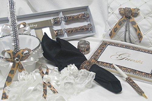 Leopard Print Wedding Reception Guest Book Cake Knife and Server Basket Garter ()