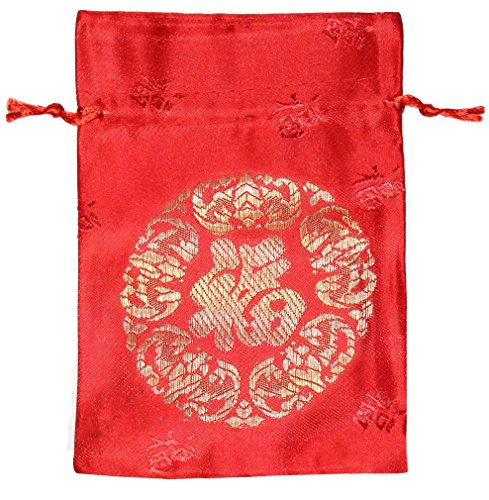 Lucore Chinese Good Luck and Fortune Text Red Brocade Pouch - 10 PC Set of Lucky Silk Style Gift Bags (Set Gold Coin Dragon)