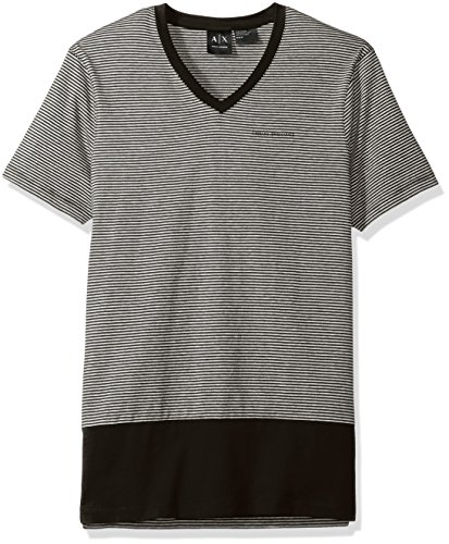 A|X Armani Exchange Mens Color Blocked V Neck Striped Tee