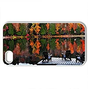 Autumn day on a lake - Case Cover for iPhone 4 and 4s (Lakes Series, Watercolor style, White)