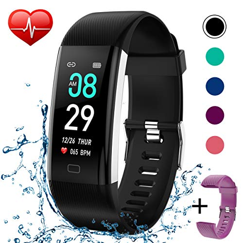 Fitness Tracker IP68 Waterproof Activity Tracker Fitness Watch with Heart Rate Blood Pressure Monitor Step Counter Calorie Counter Pedometer Activity Watch Tracker for Men Women Kids (Black+Purple)