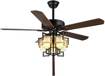 RZZX Nuevo ventilador de techo giratorio chino Techo LED inteligente ventilador eléctrico araña Control remoto de tres velocidades Luz de tres tonos Sala de estar ...